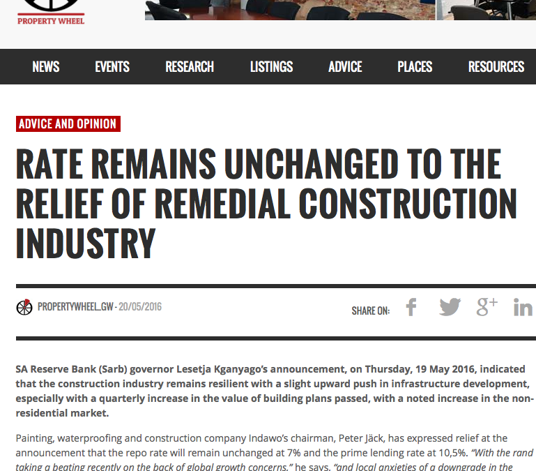 Rate Remains Unchanged To The Relief Of Remedial Construction Industry
