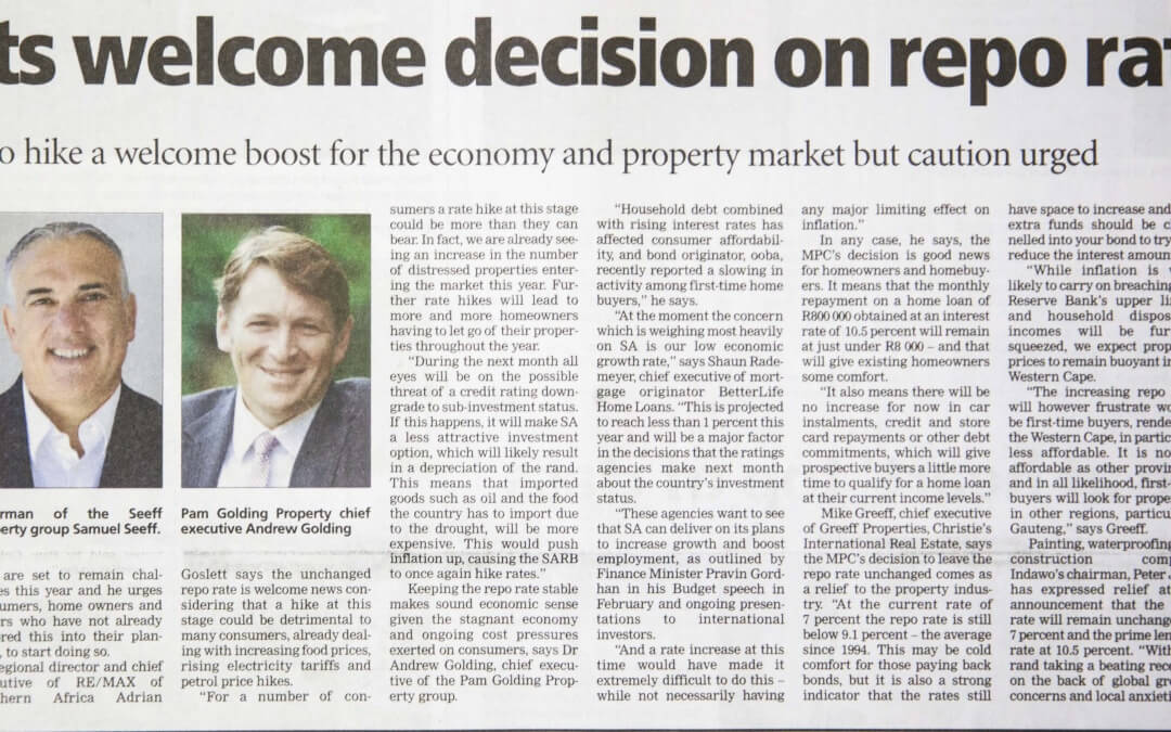 Indawo and Peter Jäck quoted in media repo rate May 2016