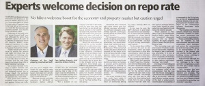 Experts welcome decision on repo rate Weekend Argus 28 May 2016 Indawo Peter Jäck