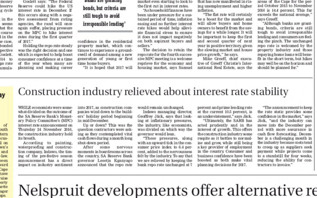 Construction industry relieved about interest rate stability