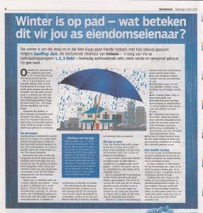 Winter is op pad. Wate beteken dit vir die bou eienaar? Winter is approaching, what does this mean for the building and home owner?