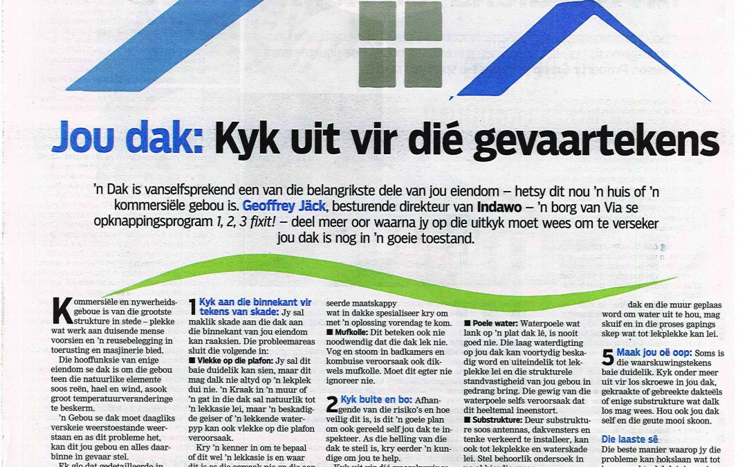 Jou dak: Kyk uit vir dié gevaartekens/Your roof: Look out for these danger signs Die Burger 27 April 2019