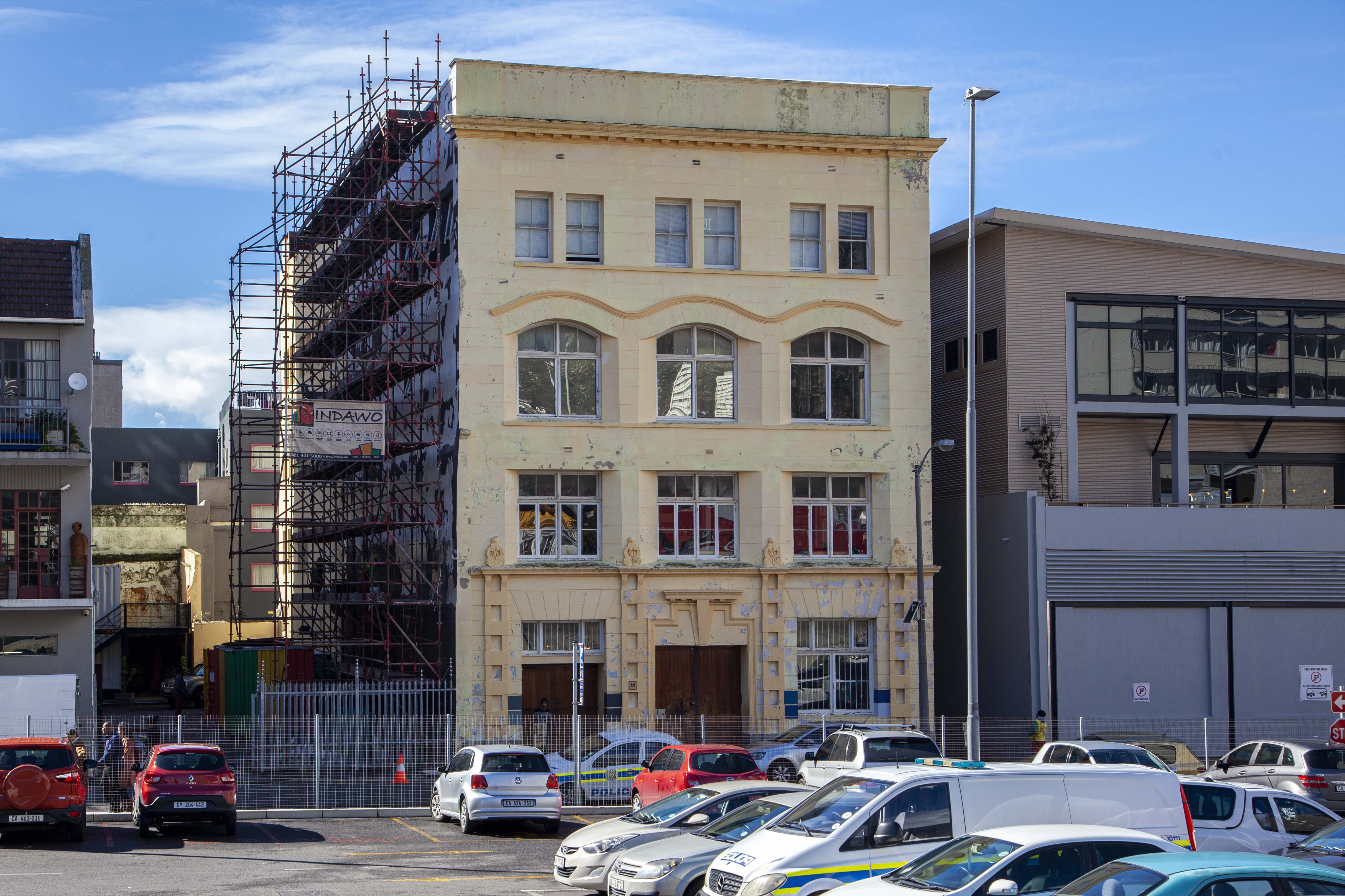 Union House, Cape Town, external redecoration, painting, scaffolding by Indawo, Cape Town