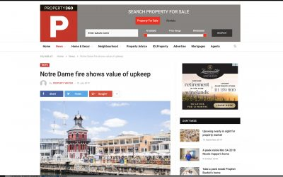 Indawo makes the news again. Importance of heritage maintenance after Notre Dame fire, property360.co.za