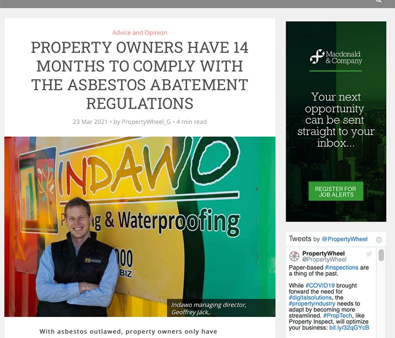 Asbestos Abatement Regulations registered and approved asbestos contractor Indawo